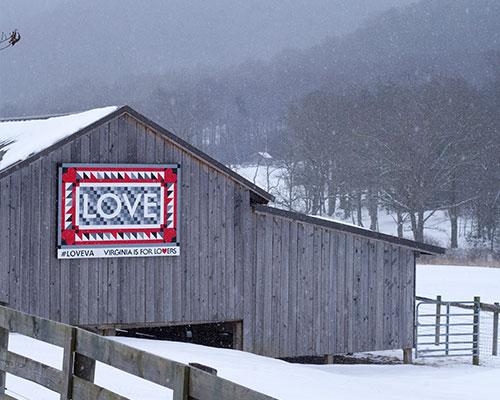 LOVEwork Barn Quilt in Burkes Garden